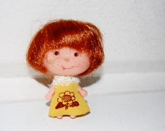 Vintage Red Head Little Kiddle Style Doll, Made in Hong Kong, Strawberry Shortcake Look