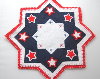 SEWING PATTERN: Patriotic Stars Penny Rug Wool Applique sewing tutorial - felt candle mat pattern - Hostess Gift - DIY Holiday Decoration