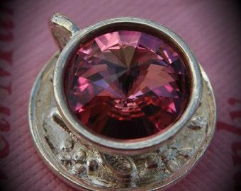 Silver Plated Genuine Swarovski Crsytal Tea Cup Rivoli In Rose Pendant
