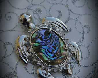 Genuine Silver Plated Abalone Turtle With Crystals Pendant