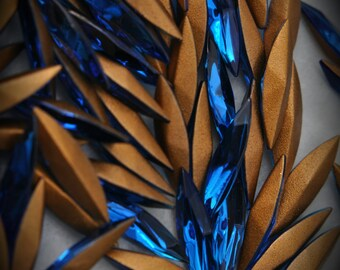 4200 15x4mm Genuine Swarovski Crystals Capri Blue Navette Foiled Rhinestones