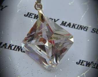 AAA Silver Plated Square Pendant With Clear Cubic Zirconia