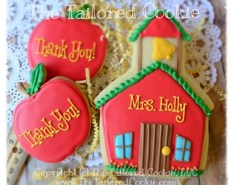 Back to School Teachers Gifts, School House, End of School Year Gifts, Decorated Cookie, Thank You Sugar Cookies