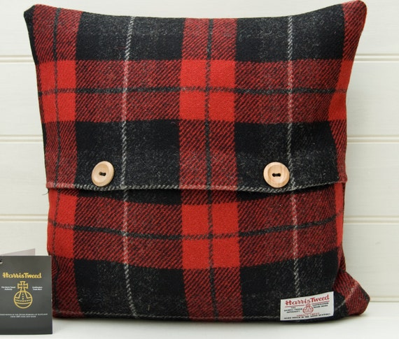 Red Tartan Cushion Cover Plaid Throw Pillow Wooden by GreenCallow