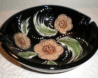 Sascha B  Black and Floral Ashtray
