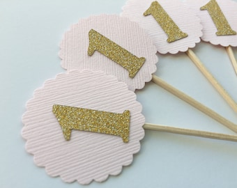 20 Light Pink Cupcake Topper with Gold Glitter Number. Birthday Party Food Picks. Pink and Gold Party