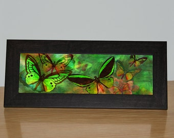 Canvas art - Green Butterfly Fantasy Framed