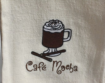 Cafe Mocha flour sack towel. Machine embroidered.
