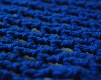 "Crochet Toy Hammock - Royal Blue ""Lovey Corral"" - Stuffed Animal Organizer"