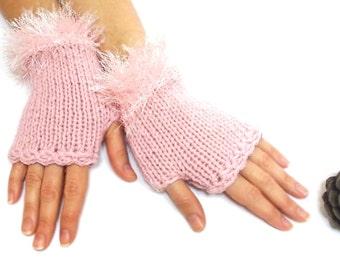 Pink Fingerless Gloves, Mittens, Hand knit fingerless gloves, Lolita Gloves, Chic Gloves, Boho knit glove mittens, Knit gloves mittens
