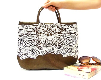 On Sale, Leather Bag, Brown, Leather Tote Bag, Lace bag, Imitation leather, Lace Bag, Lined tote leather bag
