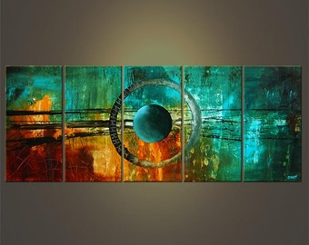 """60"""" Large Abstract Modern Acrylic Painting Abstract Modern Art Turquoise Teal Original Art  MADE-TO-ORDER"""