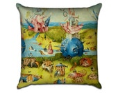 The Garden of Earthly Delights by Bosch (6) - Famous Art Sofa Throw Pillow