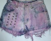 Magenta and Denim High Waisted Shorts