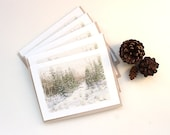 Winter Forest Card, Set of 5, Woodland Note Card Set, Watercolor Cards, Snow Scene, Notecards, Nature, Brown, Cream