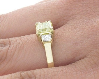 GIA Certified Fancy Yellow Engagement Ring Radiant 2.40 Carat Prong 18k Gold