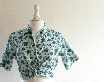 blue paisley cropped button up - vintage