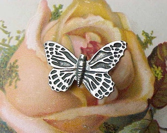 Charming Vintage Pewter Butterfly Button-Use As Pendant or Charm as Well