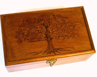 "Tree of Life Pyrography Memory Box: 9.5"" x 6.5"" Keepsake Box, Jewelry Box, Memorial Box or Wedding Box"