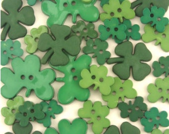 15 Assorted Green Shamrock Buttons, Green Clovers, Shamrocks, Assorted greens, some with glitter, novelty buttons with gift wrap