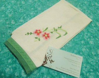 Vintage White Kitchen towel wiht an floral embroidery design for housewares, sewing, crafts, clothing, linen by MarlenesAttic