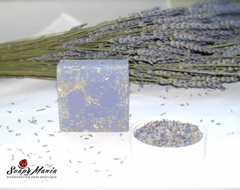 Facial Organic Natural Healthy Aromatherapy Grapeseed Oil Apricot Kernel Oil Lavender Exfoliating Scrub Shredded Loofah Soap Bar. Purple