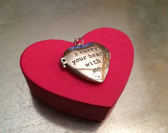 i carry your heart with me Sterling Silver Heart Locket Necklace