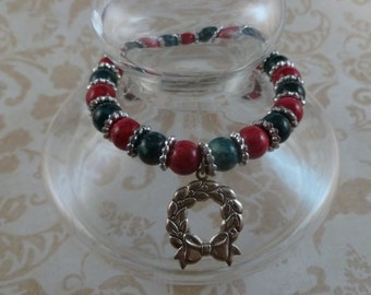 Red And Green Christmas Wreath Bracelet