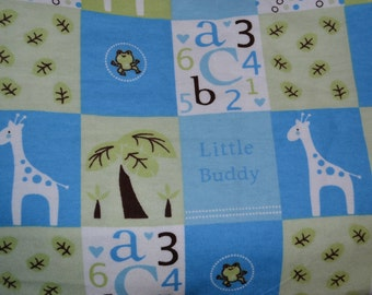 Little Buddy Blue Baby Snuggle Flannel Fabric. 1 yard or more - quilting and sewing fabric - all cotton