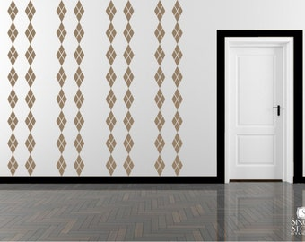 Wall Decals Argyle Mural - Wall Pattern Vinyl Stickers Art