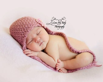 Crochet Satin Pink Earflap Hat Pink Lace Flower Newborn Photo Prop Size 0-3 Months READY TO SHIP