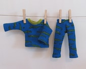 Little doll thermal underwear, crocodile print, grey or green, 11' doll clothes doll pajammas, winter long johns for doll, up cycled fabrics