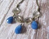 Crystal Necklace, Teardrop Statement Necklace, Denim Jasper Stones, Evening Necklace