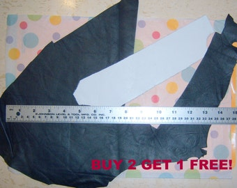 leather pieces scraps doll making navy white E219