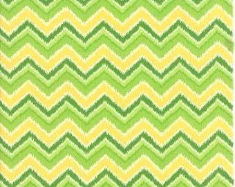 Folklore Chevron Butternut Celery Ikat by Lily Ashbury - Moda Fabric - 1 Yard