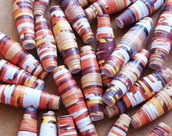 paper beads of recycled paper--multicolored orange, brown, mustard yellow and white--lot of 32