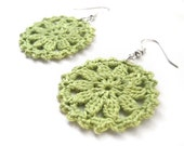 Lime Green Round Lace Doily Dangle Earrings - Egyptian Cotton - Chartreuse Kiwi Bright Crochet Spring Summer Fashion Modern Hippie Statement