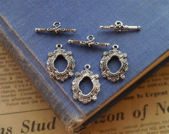 10 Sets Antique Silver Intricate Detail Toggle Sets (SC1091)