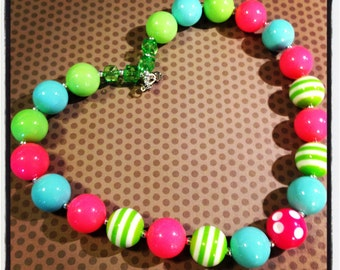 Pink, Turquoise and Lime...Summer Chunky Bead Necklace...Necklaces...Childrens Jewelry...Chunky Beads...Jewelry...Girls Necklaces