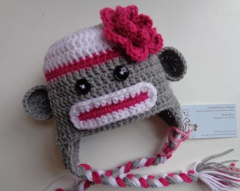 Newborn Girl Crochet Pink and Gray Crochet Sock Monkey Hat- Photo Prop Baby Girl Baby Boy