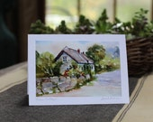 "6 Handmade Photo Cards of Original Watercolor ""Rose Cottage""~ English Cottage"