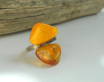 Butterscotch Amber Ring, Russian hallmark, Modernist Sterling Baltic Amber Vintage Ring, SZ 6.5