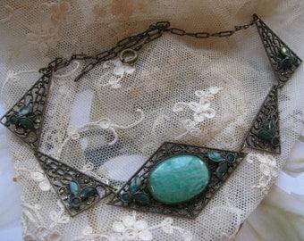 Vintage Enameled Czech Necklace, Art Deco Enameled Necklace, Peking Glass Necklace, Necklace Circa 1930