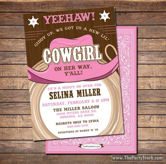 cowgirl baby shower invitations printable shower or birthday party