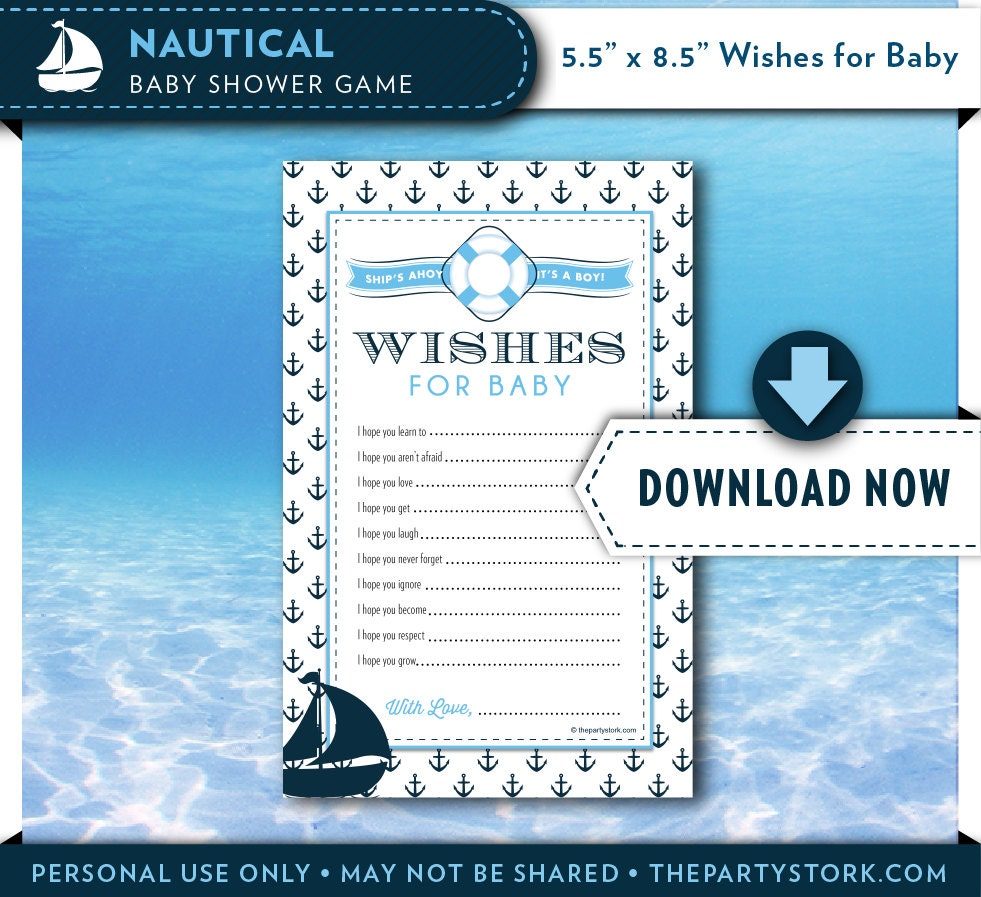 Baby Shower Message For Card: Nautical Baby Shower Wishes For Baby Printable Card Blue