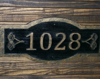 Custom Carved Address Sign Large Antique Brass Finished Wood Plaque Scrollwork Embellishment