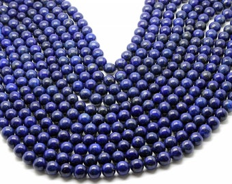 GUB-0252-3 - Round Lapis Beads - 8mm - Natural Gemstone Beads -Full Strand - 16""