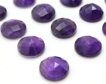 GCF-1303 - Purple Amethyst Faceted Cabochon - 16mm Round - Gemstone Cabochon - February Birthstone - AA Quality - 1 Pc