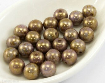 Gold Picasso Beads 7mm (20) Pressed Round Druk Czech Glass Opaque Lavender last