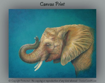 Elephant painting ready to hang canvas print, Turquoise gold yellow, Large wall art, Giclee fine art